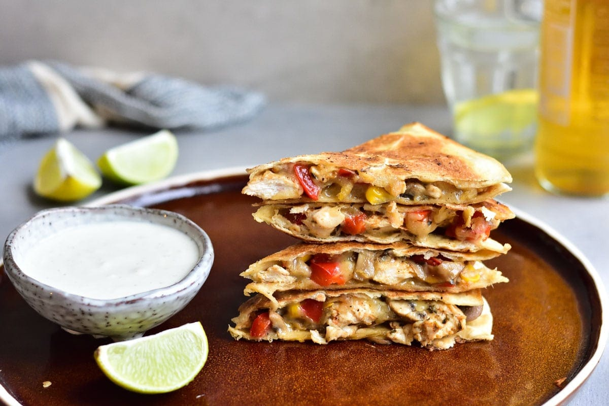 Chicken Quesadilla Recipe With Mushroom Bell Pepper And Corn