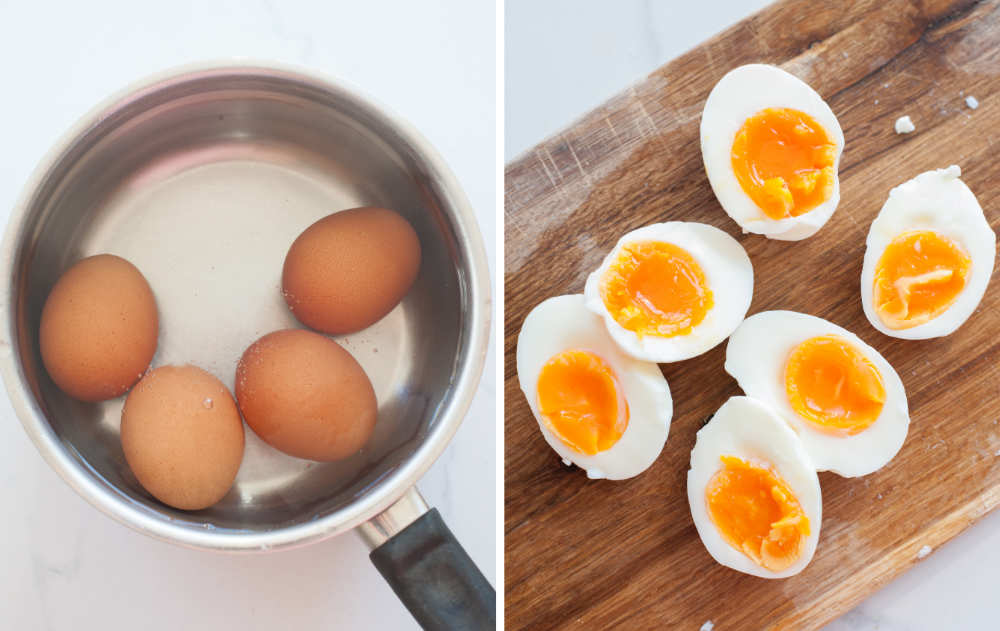 eggs in a pot, cooked eggs cut in half on a chopping board