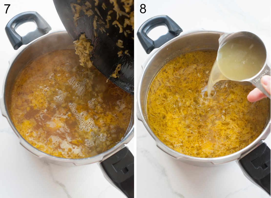 dodawanie podsmażonych ogórków i wody z ogórków do zupy