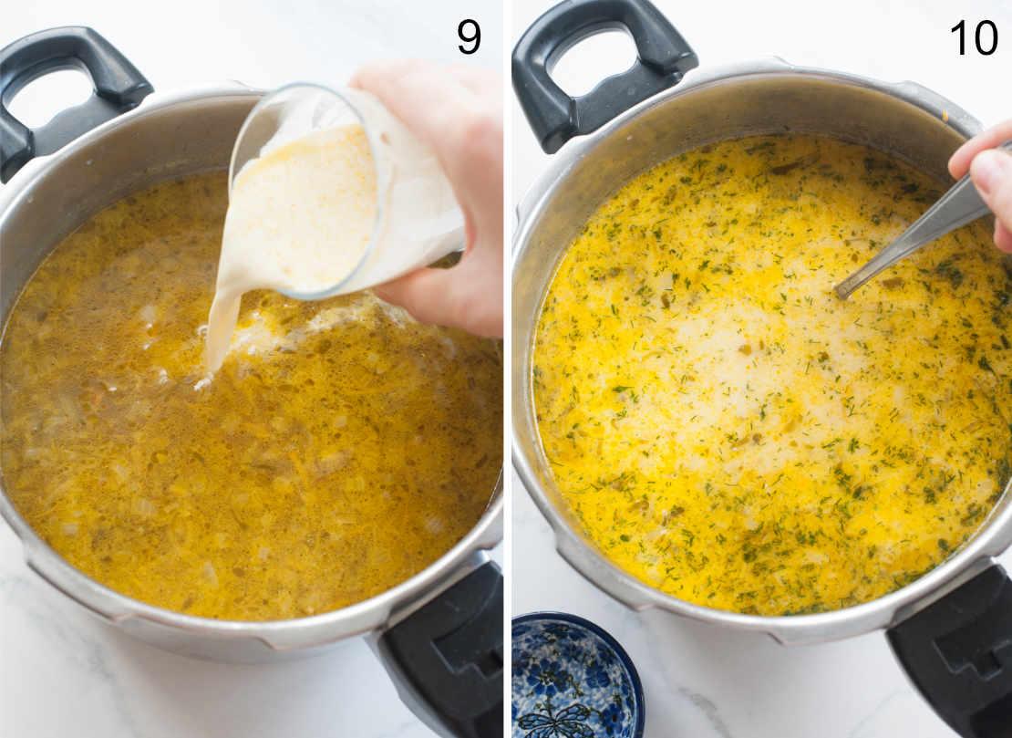 dodawanie śmietany i koperku do zupy ogórkowej