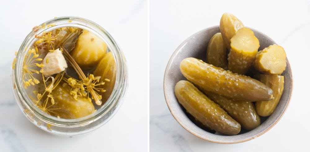 homemade dill pickles (fermented cucumbers)