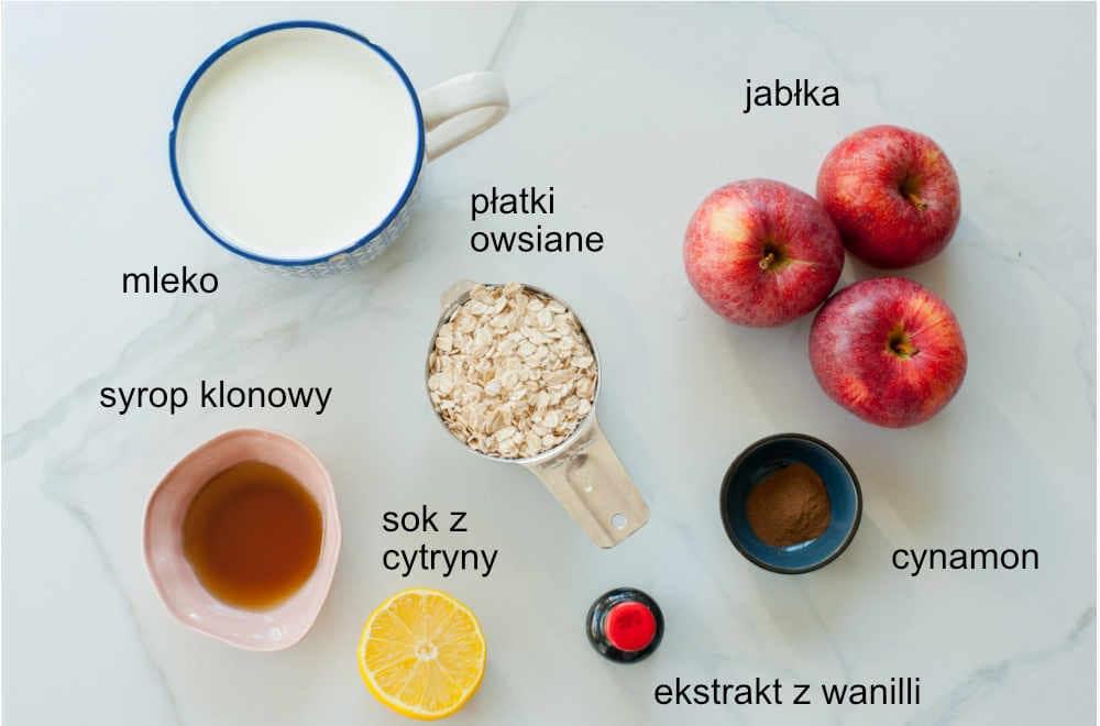 składniki na owsiankę jabłkową