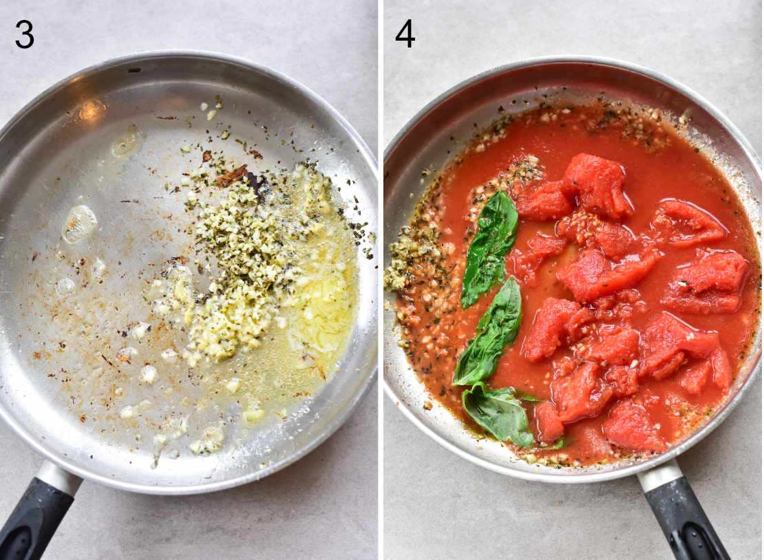 garlic and spices in a pan, tomatoes and basil in a pan