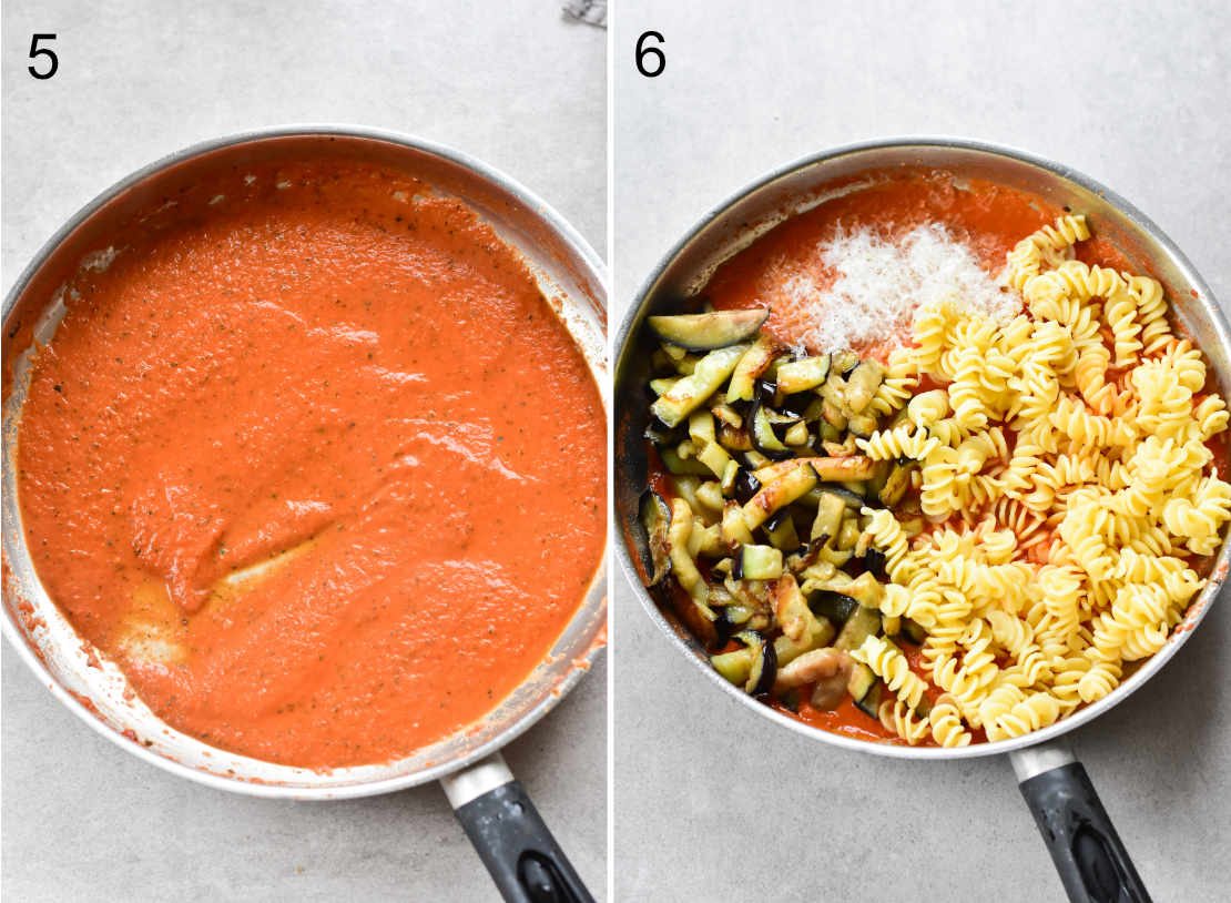 tomato sauce in a pan, tomato sauce with eggplant and cooked pasta in a pan