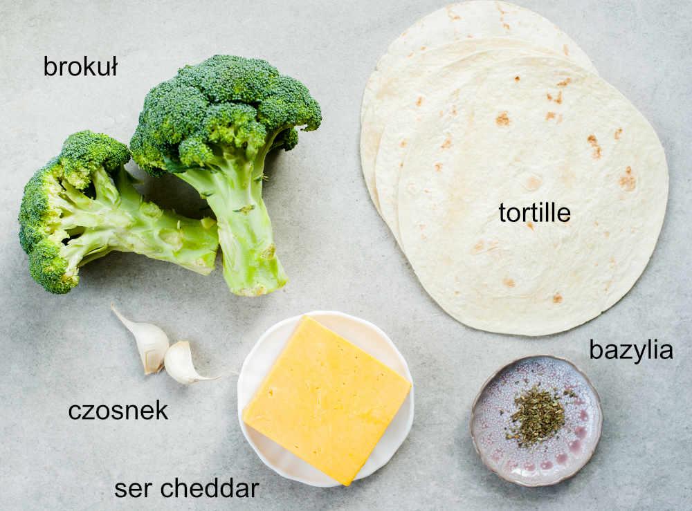 składniki na quesadillas z brokułami i serem
