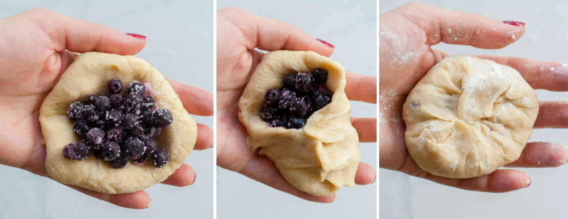 a collage of three photos showing how to fill buns with blueberries