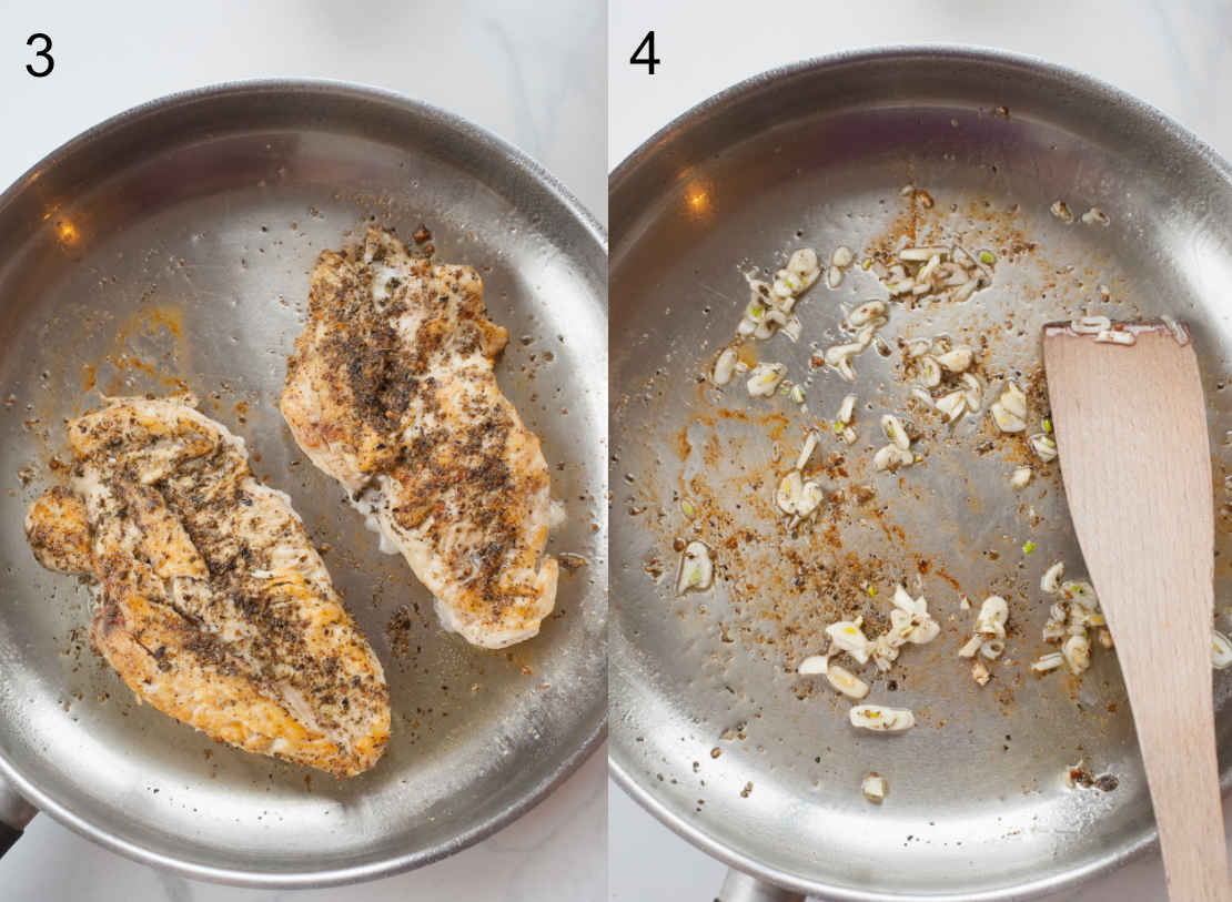 pan-fried chicken breast fillets in a pan, garlic is being cooked in a pan