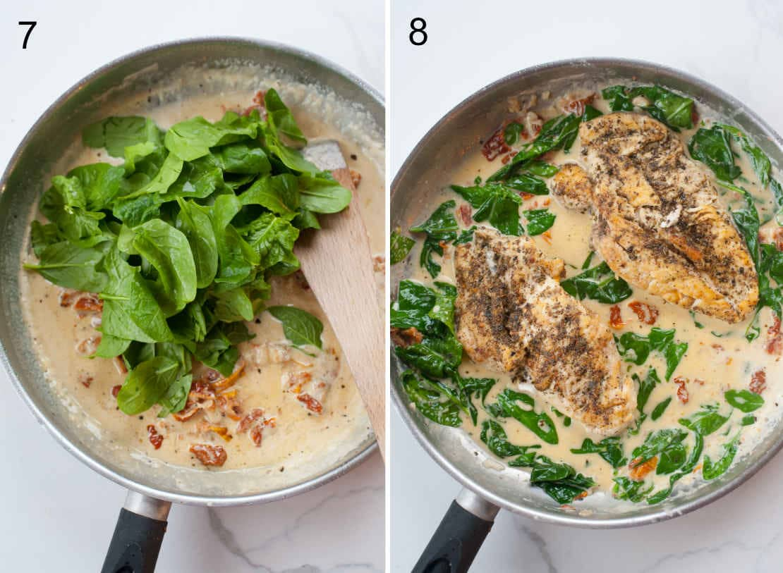 spinach and chicken added to creamy sauce in a pan