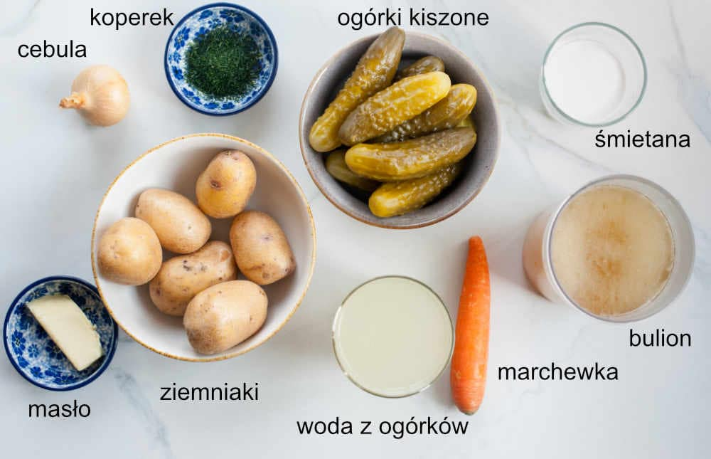 składniki na zupę ogórkową