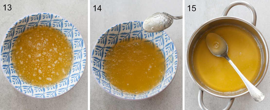 etapy przygotowania żelatyny z syropem morelowym