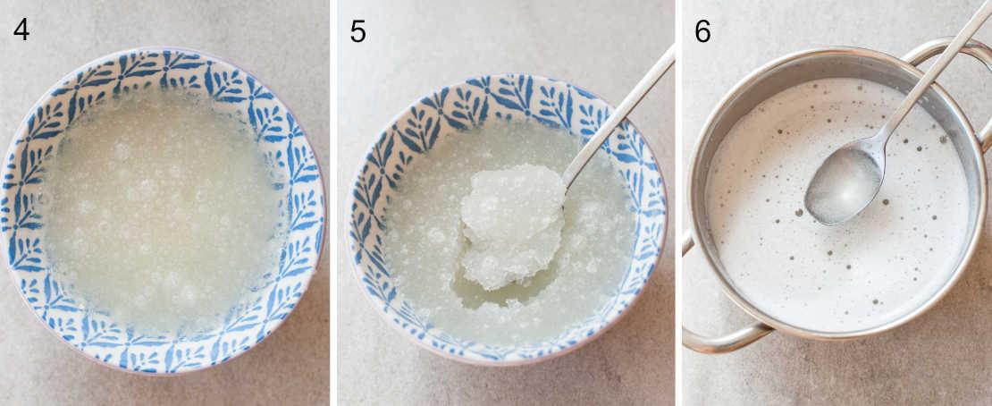 3 etapy przygotowania żelatyny