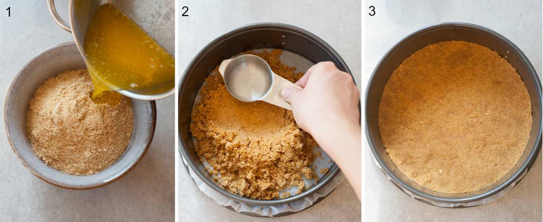 3 etapy przygotowania spodu ciasteczkowego
