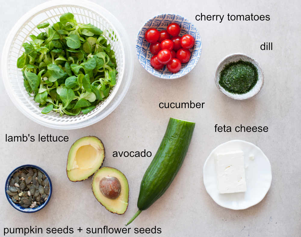 Cucumber avocado tomato salad ingredients