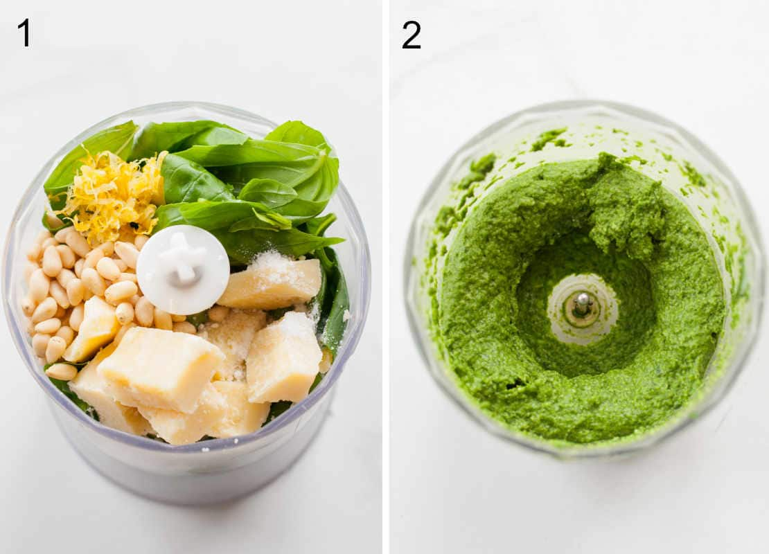 Mixing the ingredients for basil pesto in a food processor.