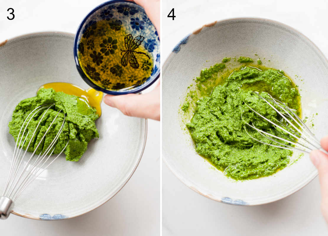 Olive oil is being added to basil pesto.