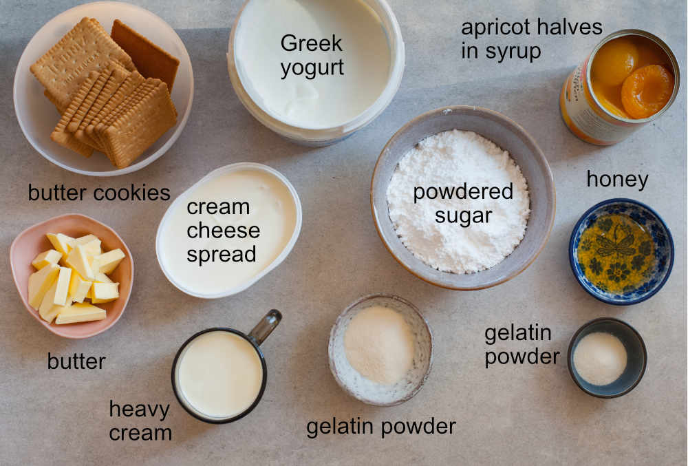No-bake Greek yogurt cheesecake with apricot mousse ingredients.