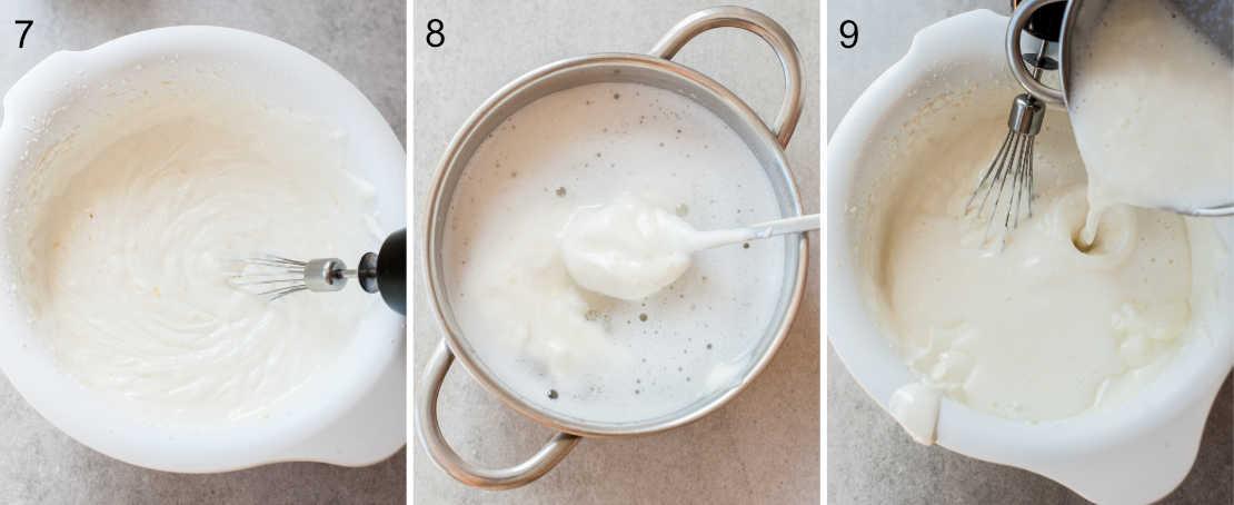 3 etapy przygotowania sernika bez pieczenia z jogurtów greckich