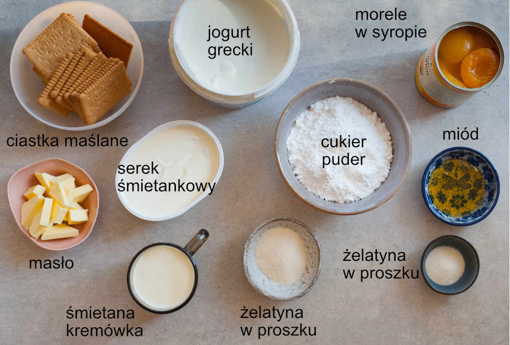 składniki na sernik bez pieczenia z jogurtów greckich z musem morelowym