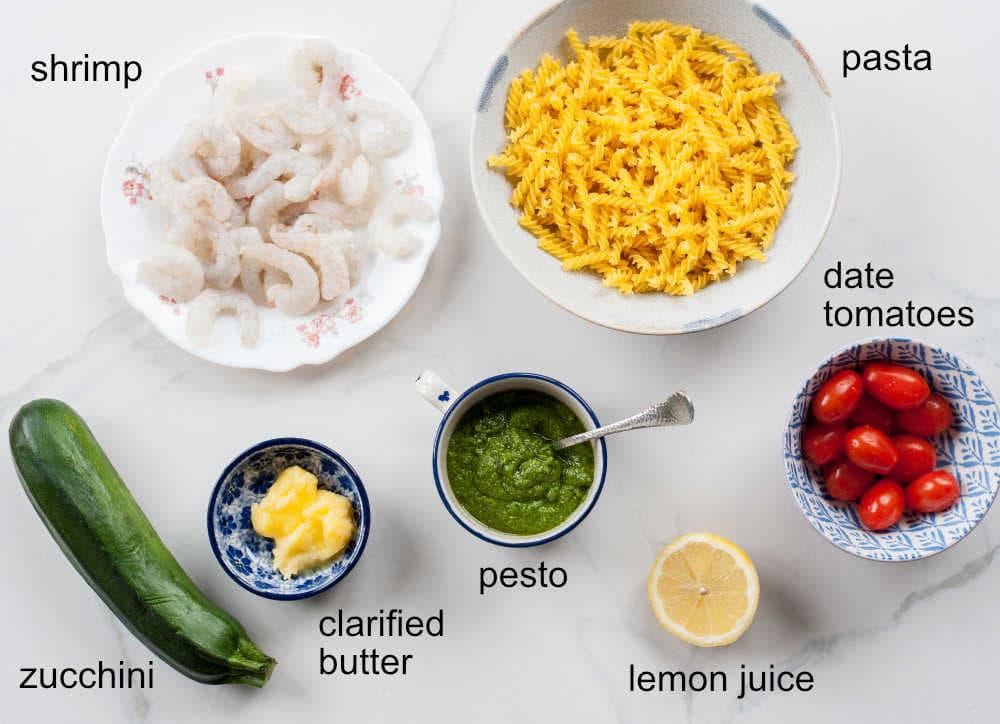 shrimp pesto pasta ingredients
