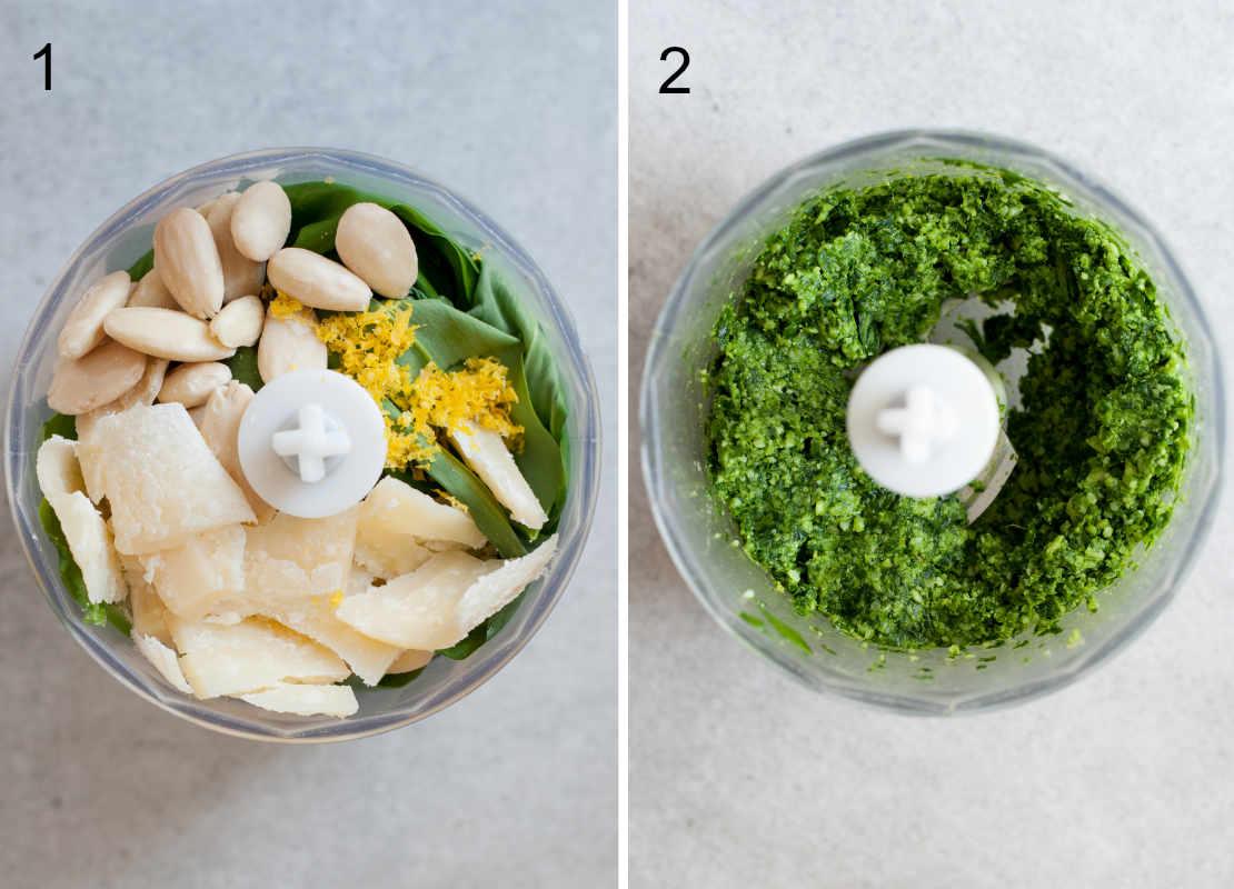 wild garlic pesto preparation steps