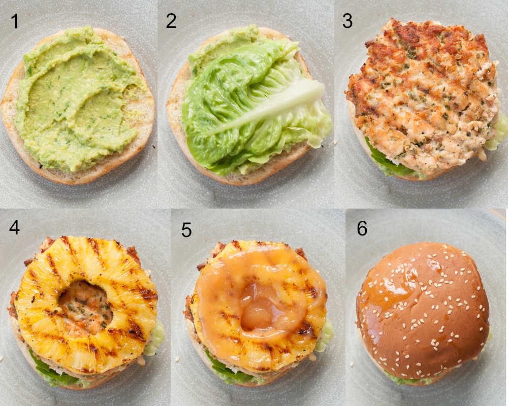 etapy składania burgerów z łososia