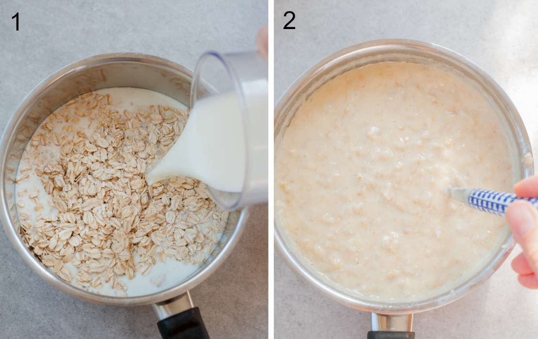 adding milk to the oats, cooking the oatmeal