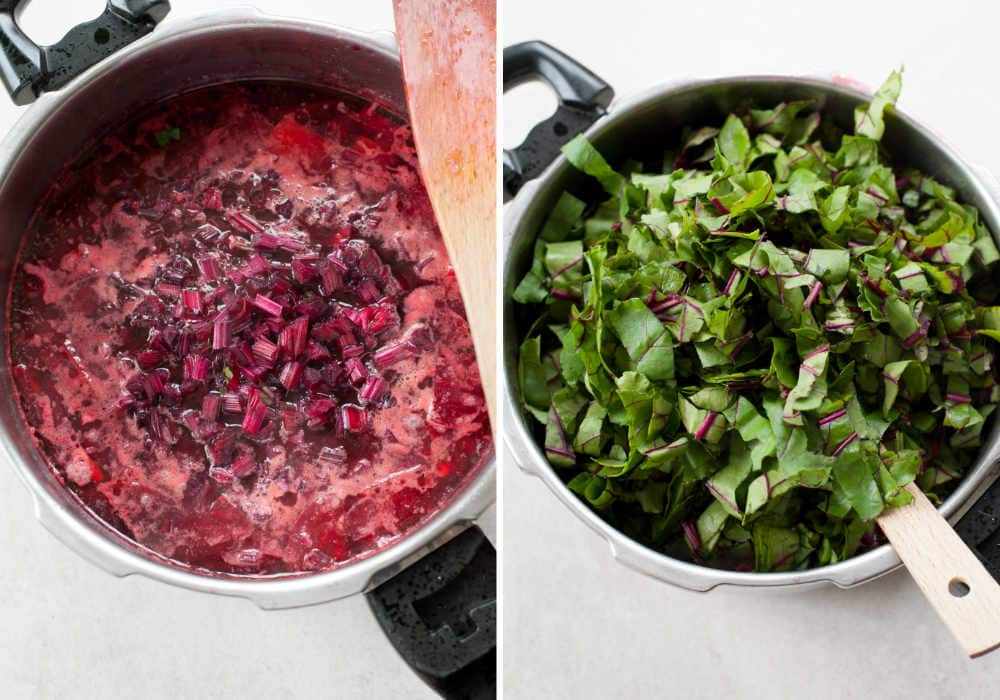 chopped beets stems and leaves in a pot