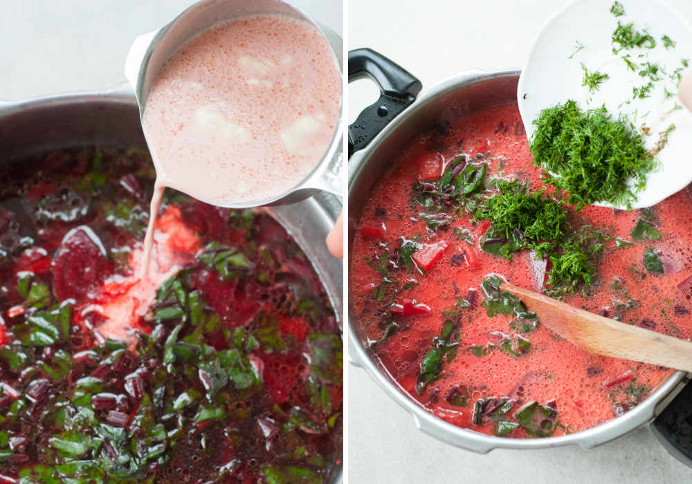 tempered cream and dill are being added to a beet soup