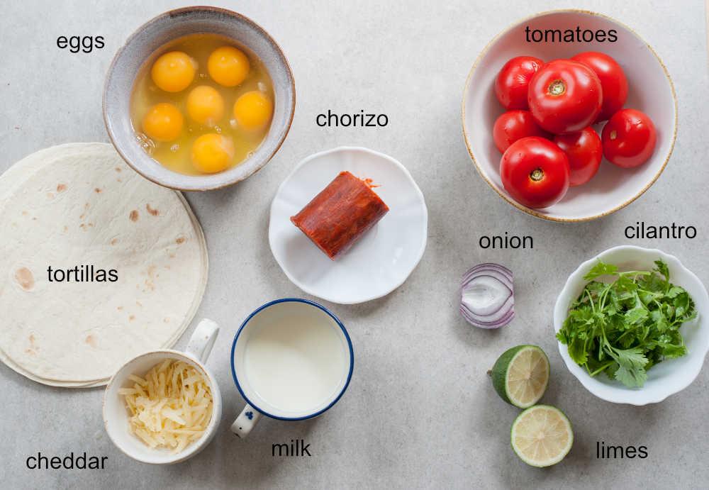 Ingredients needed to prepare breakfast tacos and pico de gallo.