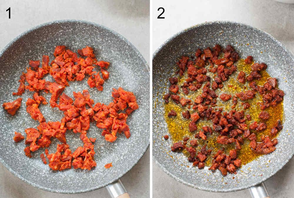 Chopped chorizo in a pan, cooked chorizo in a pan.