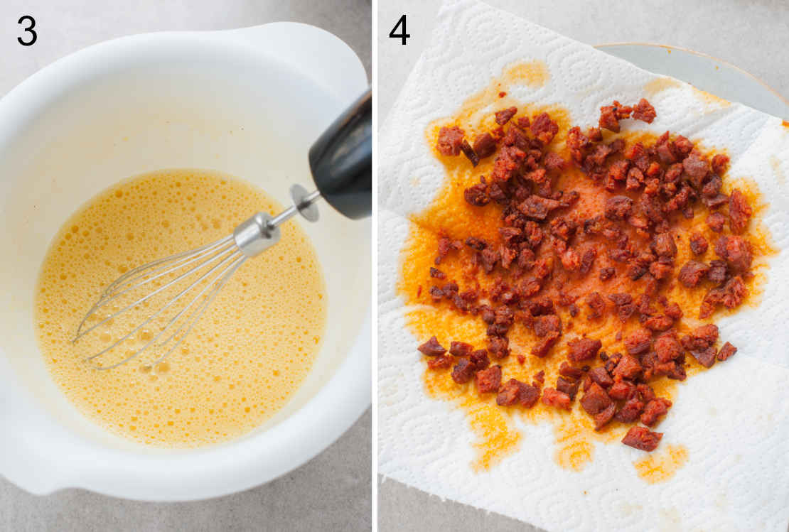 beaten eggs in a white bowl, drained cooked chorizo sausage on a paper towel
