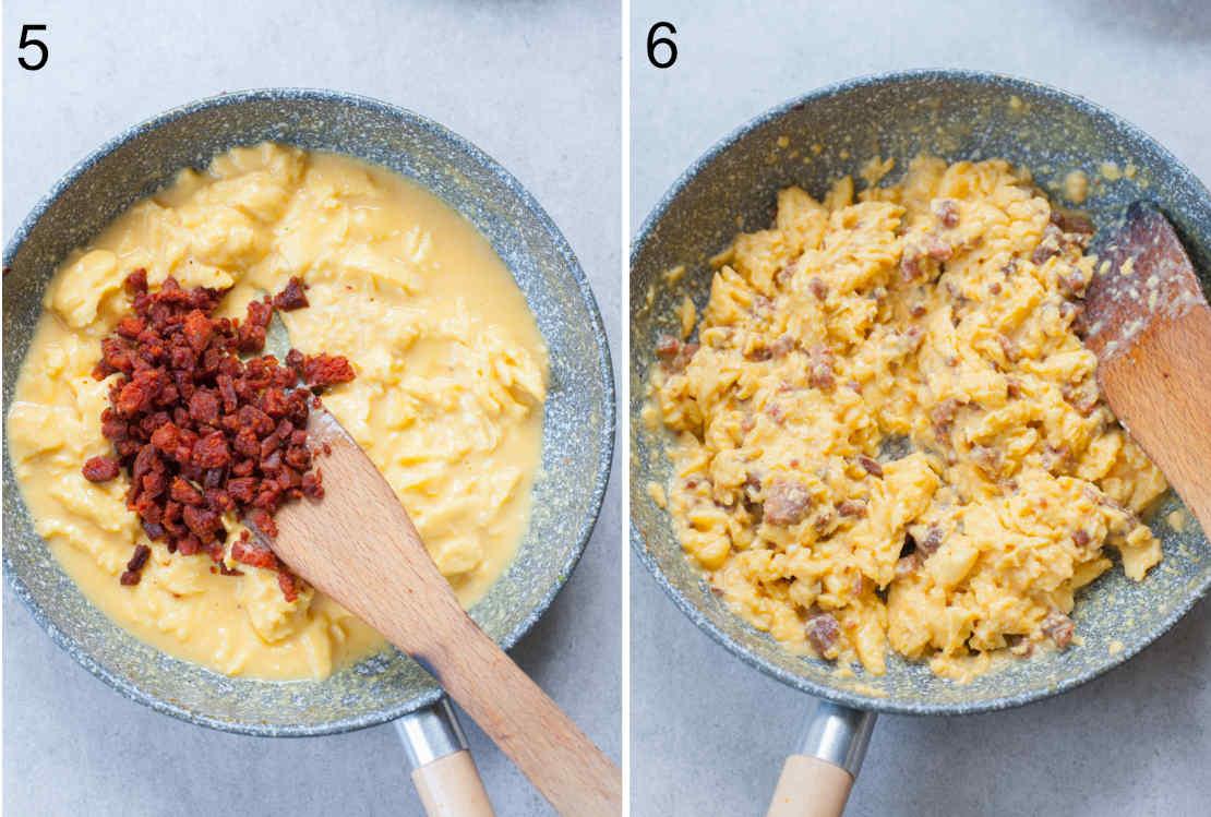 Chorizo sausage added on top of half-set scrambled eggs, scrambled eggs with chorizo in a pan.
