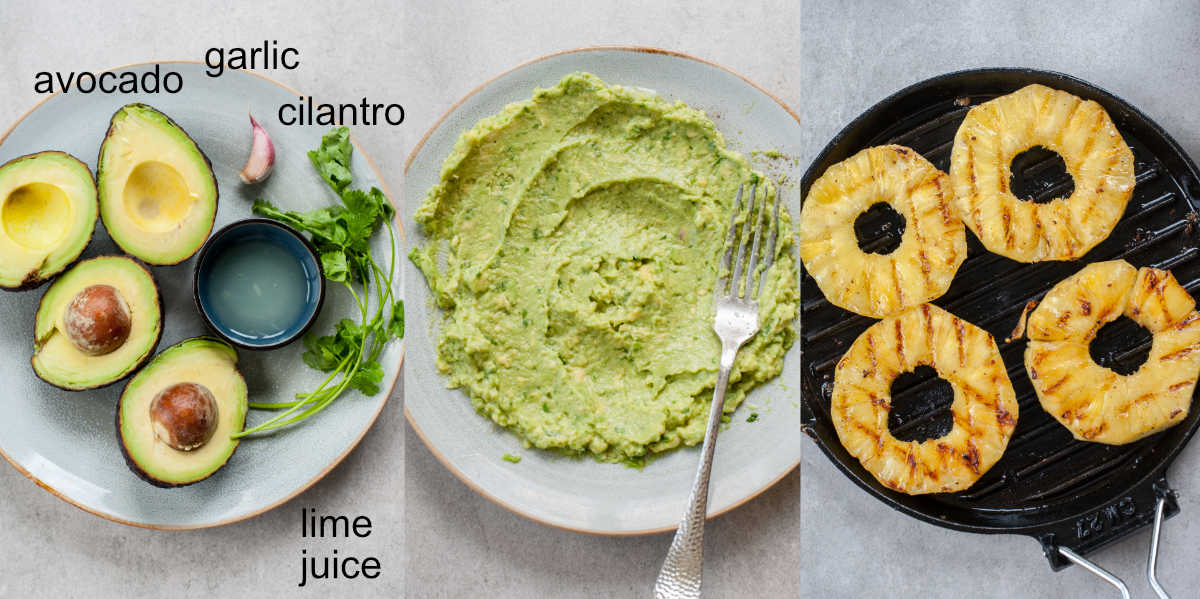 Ingredients and preparation steps of guacamole, grilled pineapple in a black pan.