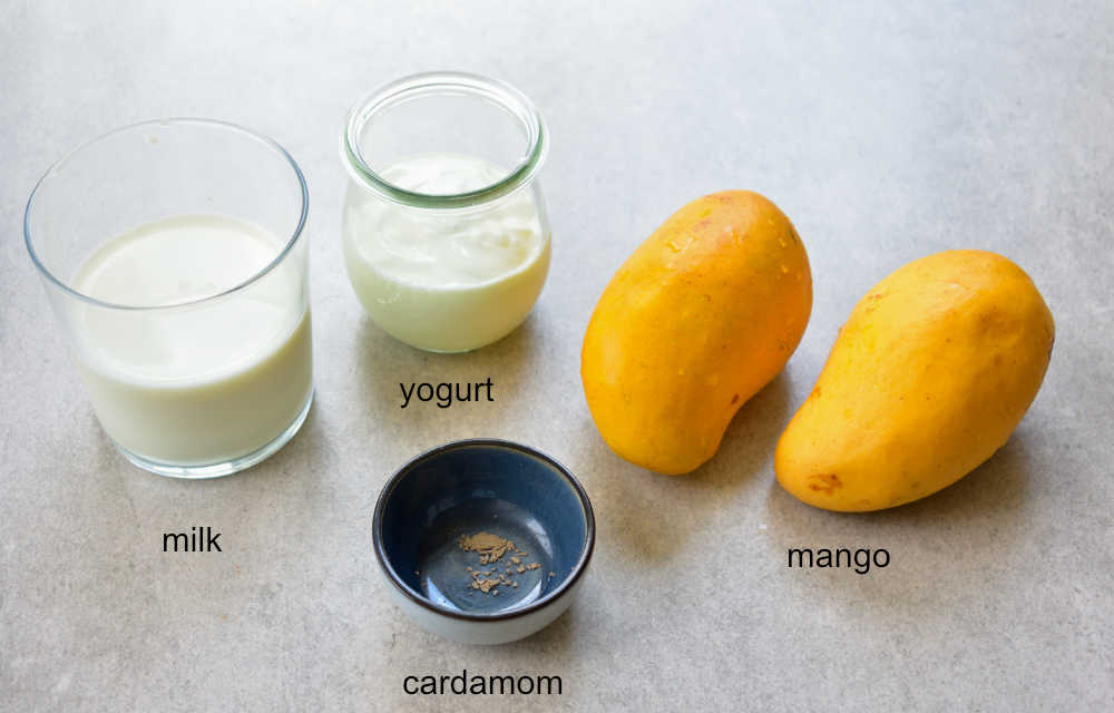 ingredients needed to prepare mango lassi