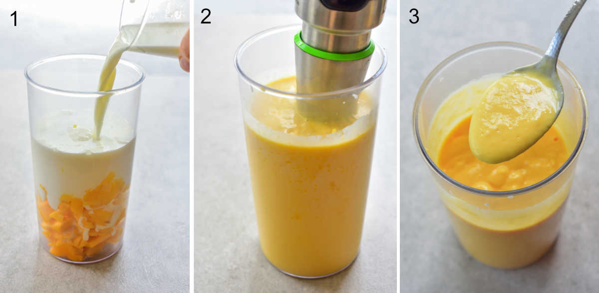 collage of photos showing preparation steps of mango lassi