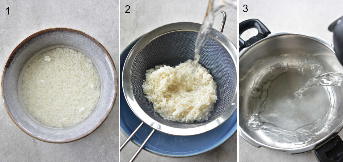 a collage of 3 photos showing the steps of preparing the sticky rice