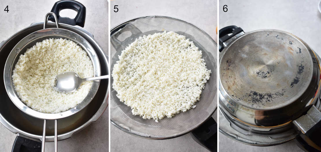 a collage of 3 photos showing the steps of steaming the sticky rice