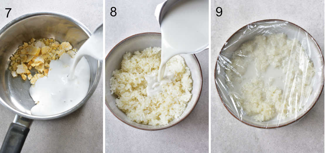 a collage of 3 photos showing the steps of preparing sticky rice and sweetened coconut milk