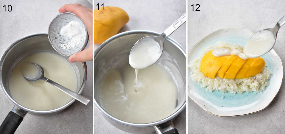 a collage of 3 photos showing the steps of preparing the coconut sauce and assembling the dish