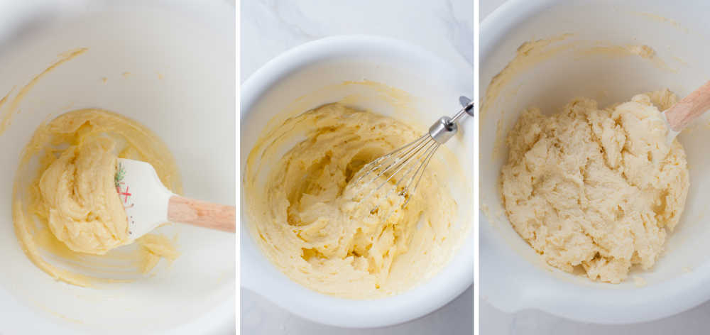 a collage of three photos showing making the cheese dough for dumplings in a white bowl