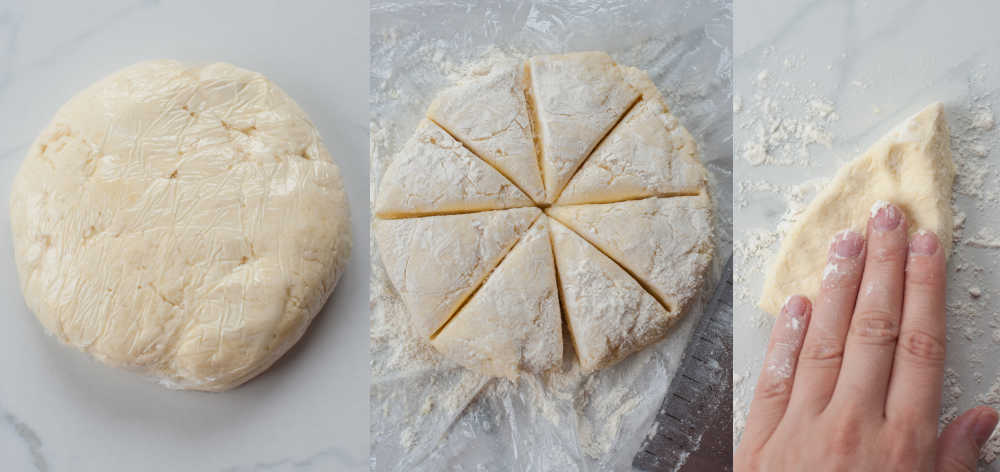 dumpling dough in a form of a round disk, wrapped in plastic foil and divided into 8 parts