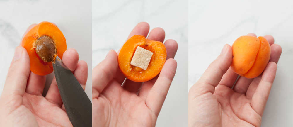 a collage of three photos showing removing the apricot stone and placing a sugar cube in its place