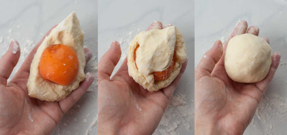 a collage of three photos showing covering an apricot with dumpling dough