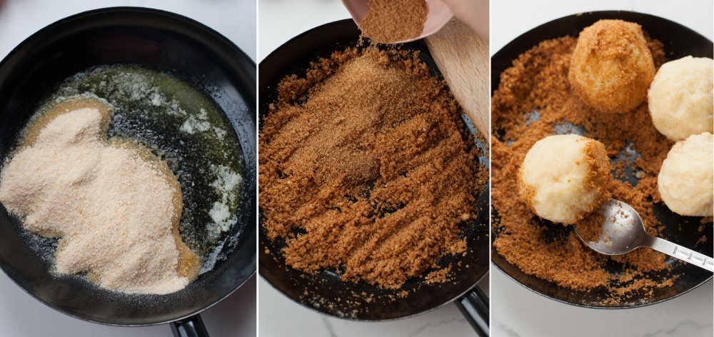 a collage of three photos showing making the breadcrumb topping and rolling the cooked dumplings in it
