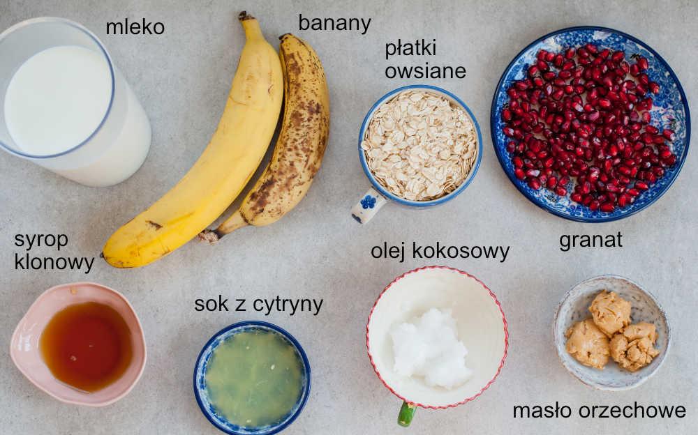 Składniki na owsiankę z bananem i masłem orzechowym