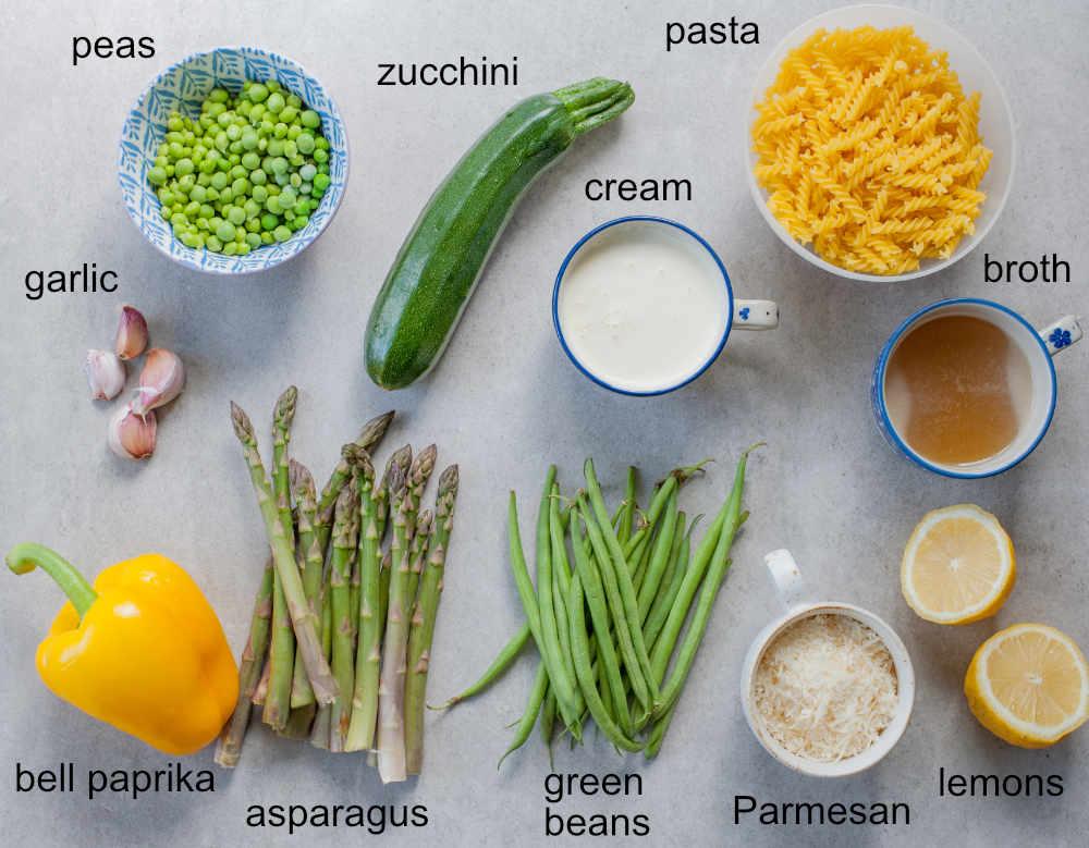 ingredients needed to prepare pasta primavera