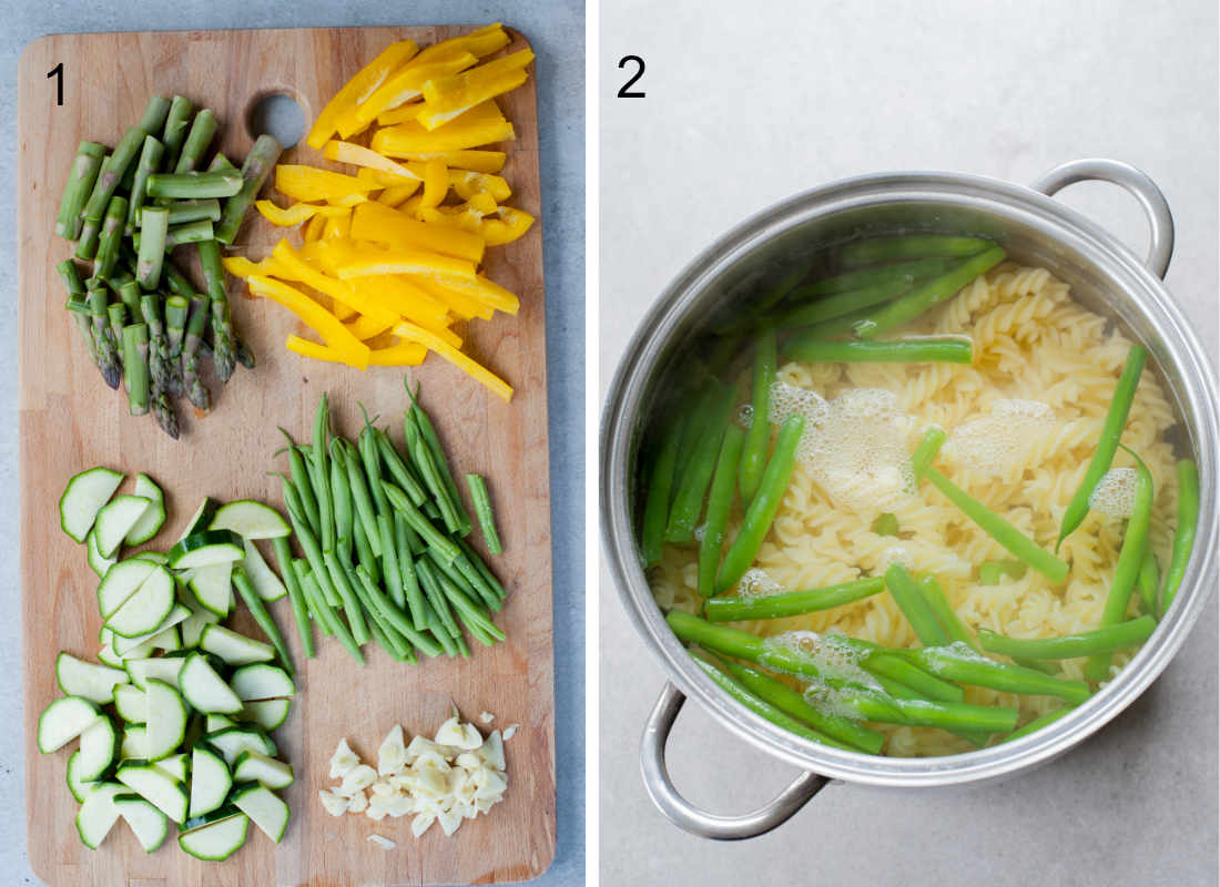 chopped vegetables on a wooden board, pasta and green beans are being cooked in a pot