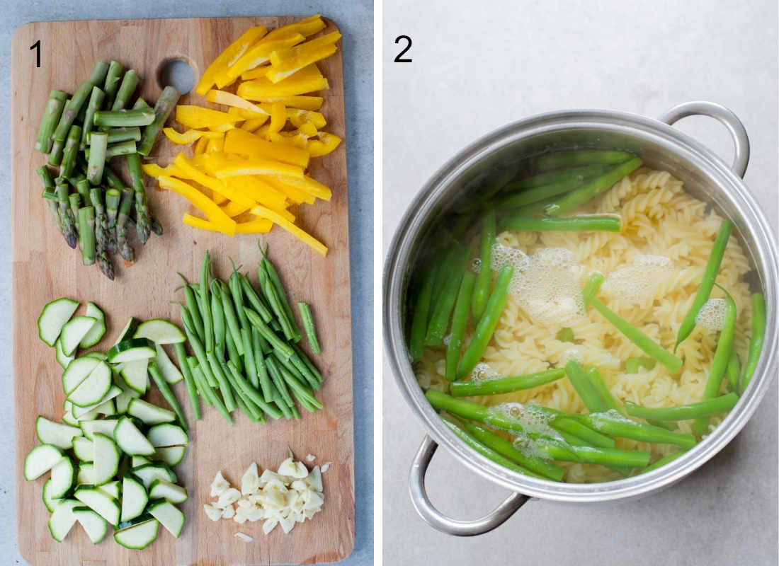 pocięte warzywa na desce do krojenia, fasolka szparagowa i makaron gotują się w garnku