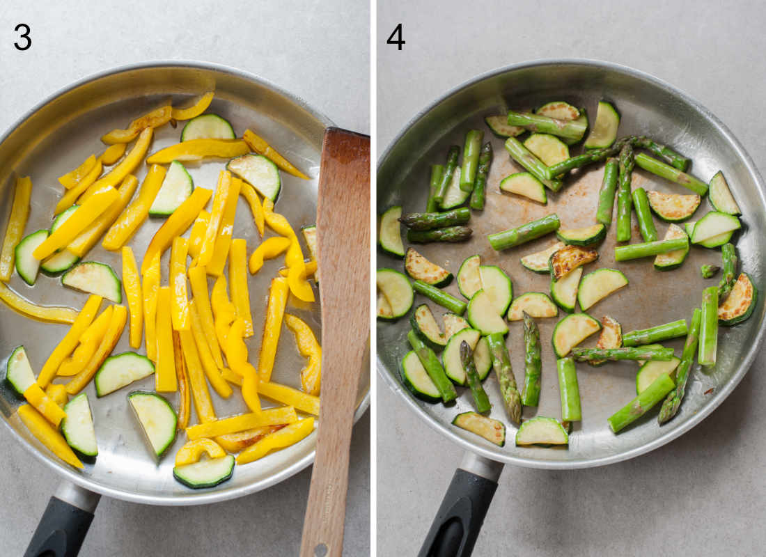 yellow bell paprika, zucchini and asparagus are being pan-fried in a pan