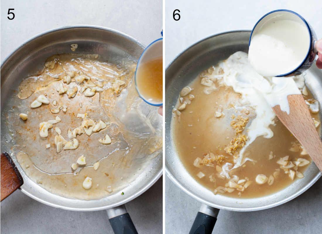dodawanie bulionu i śmietany do sosu na patelni